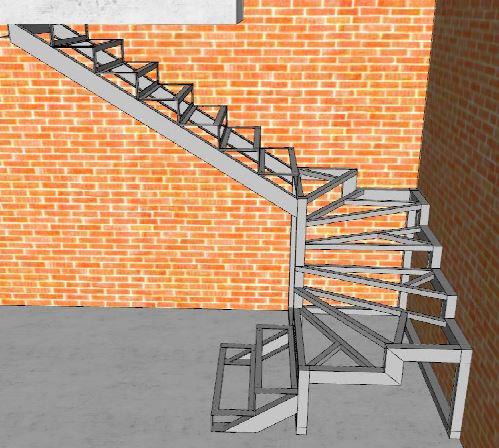 Лестница своими руками из металла с поворотом на 180 33